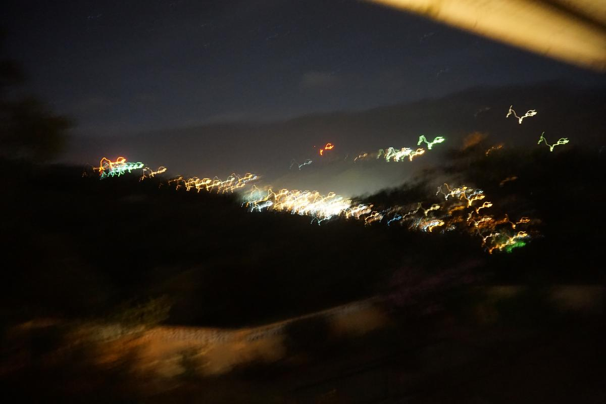 Night time view of town