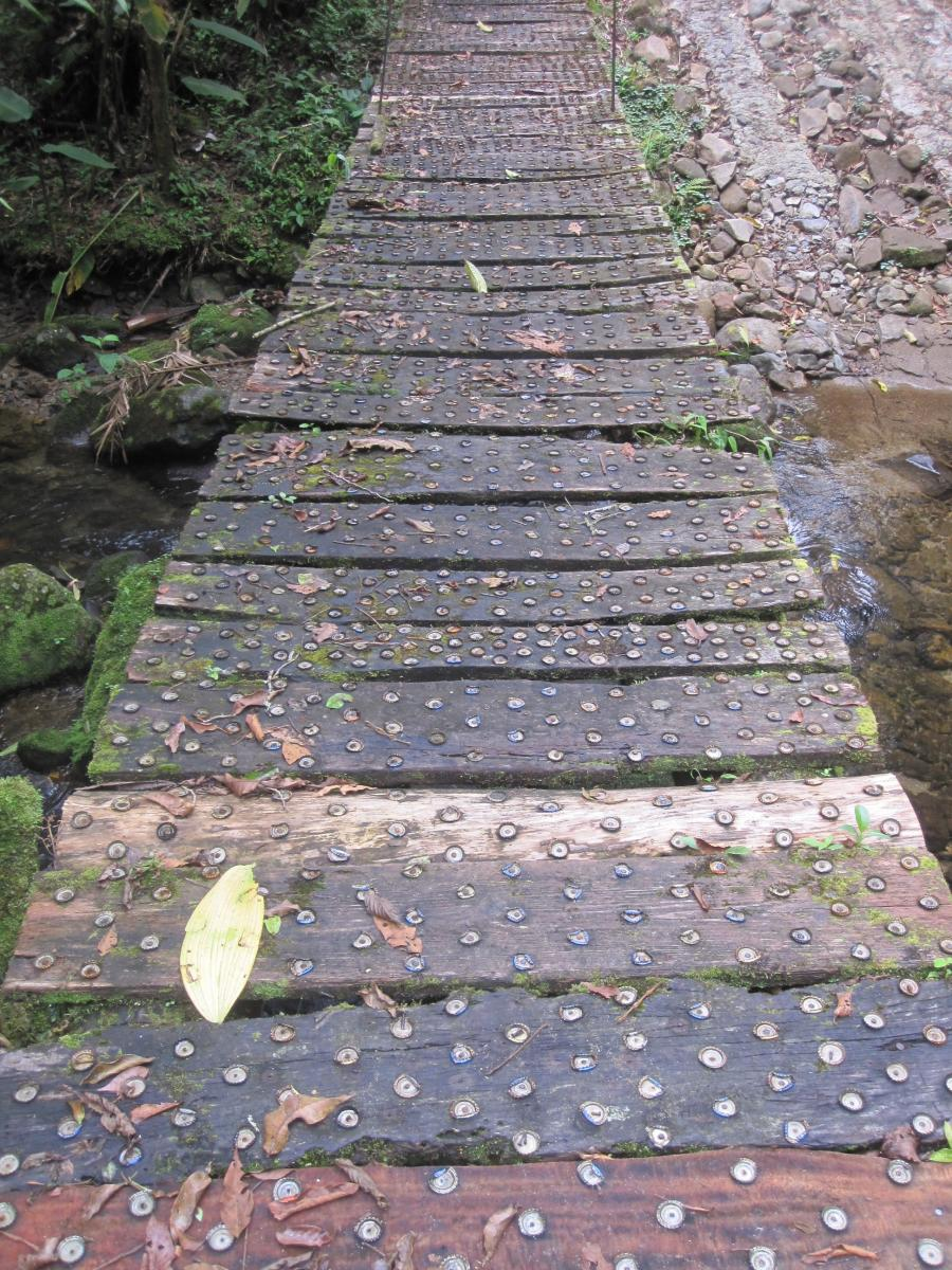 Footbridge with bottle caps