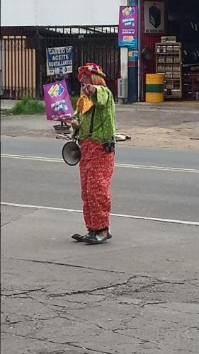 Clown on the street hawking wares with megaphone; we can hear him in the apartment 2 blocks away from; never could understand him