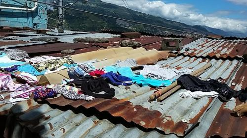 Laundry is often set out on the roof to dry