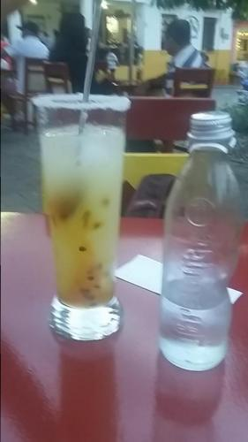 Delicious, refreshing drink of passion fruit, lemon juice, and carbonated water