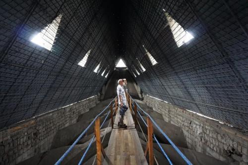 Walking across interior of roof