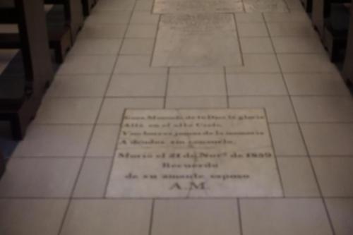 Tombs in floor of church