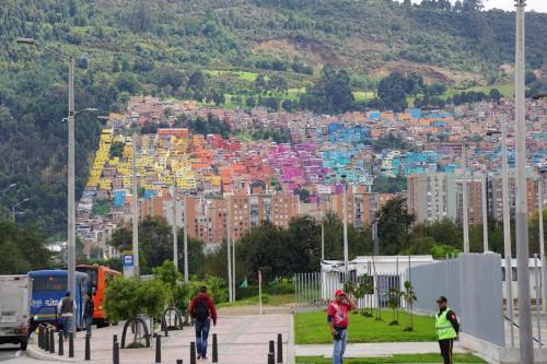 North Bogotá subdivision with colorful houses or units
