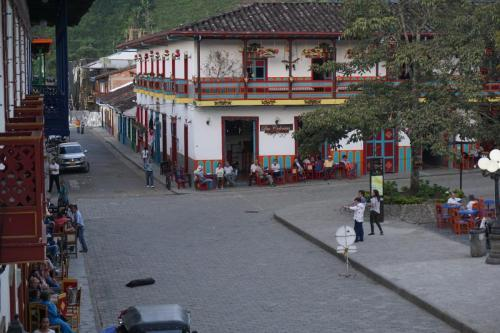 Building on one side of plaza