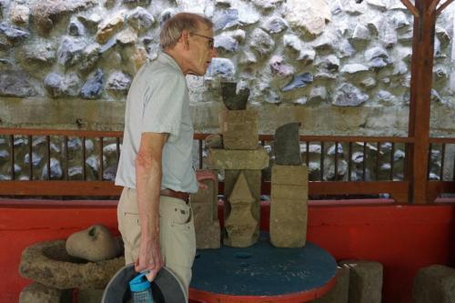 Dan admiring the workmanship on stone carving