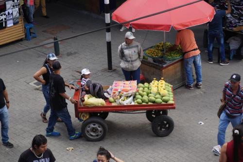 Downtown near Botero Park, Fruit vendor in Medellin
