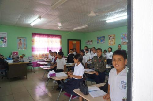 Sixth grade classroom; the students immediately stood up when we were introduced
