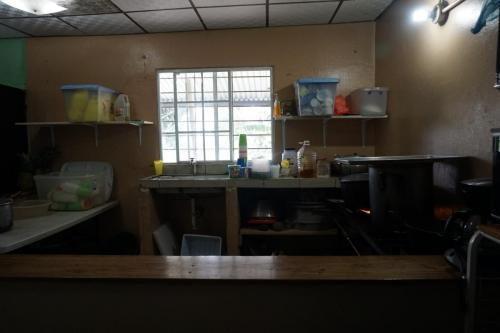 Kitchen space where food for 180 students is prepared twice a day