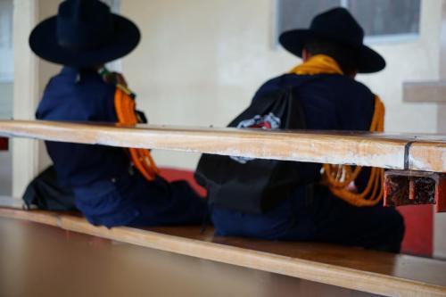 Boys scout type uniforms at Parque Arvi