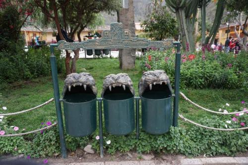 Peruvian recycling containers seen in various areas