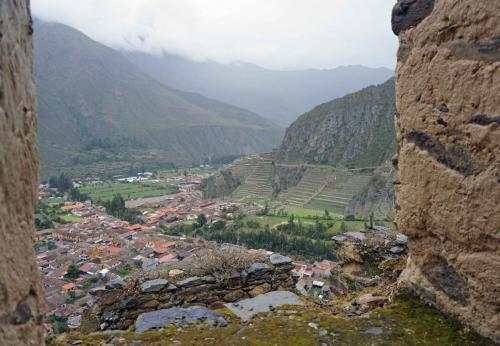 View of Ollantaytambo from fort ruins