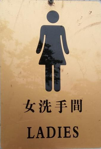 Ladies room sign, road to Bocas del Toro. There is a Chinese cafeteria at this bus stop.