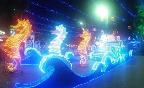 Santa's sleigh pulled by sea horses