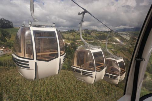 Cable cars passing us