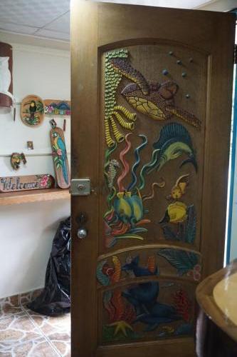 Carved door underwater scene