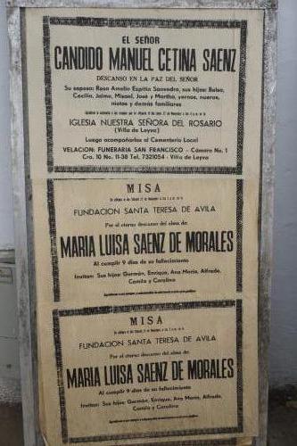 Funeral notices are posted in public area in Villa de Leyva