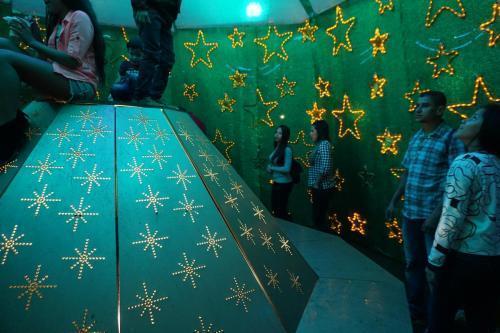 Inside giant Christmas tree