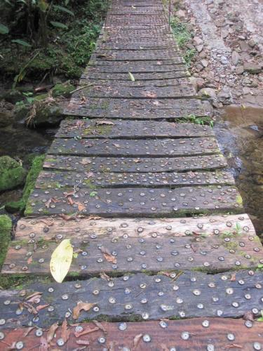Footbridge with bottle caps