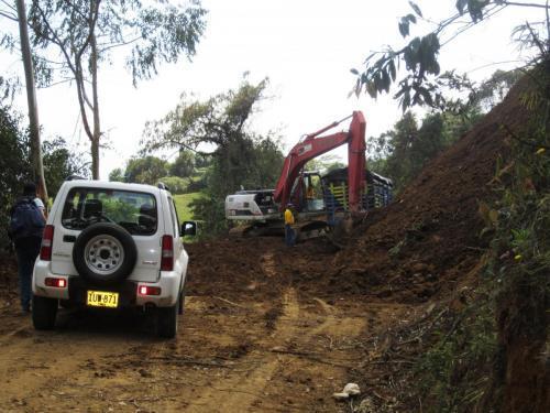 Workers on landslide